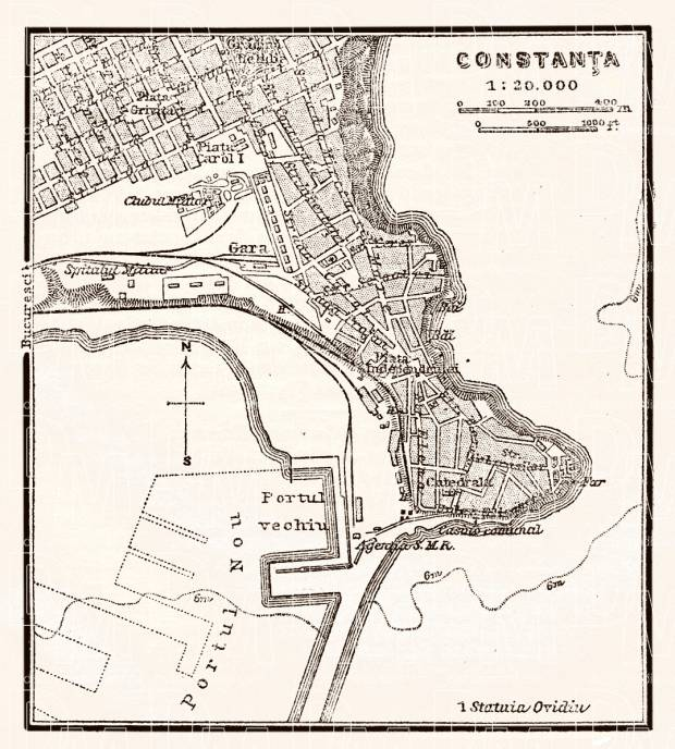 Constanța city map, 1905. Use the zooming tool to explore in higher level of detail. Obtain as a quality print or high resolution image