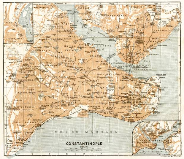 Constantionople (قسطنطينيه, İstanbul, Istanbul) city map, 1906. Use the zooming tool to explore in higher level of detail. Obtain as a quality print or high resolution image