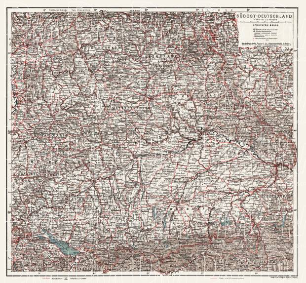 Germany, southeastern regions. General map, 1913. Use the zooming tool to explore in higher level of detail. Obtain as a quality print or high resolution image