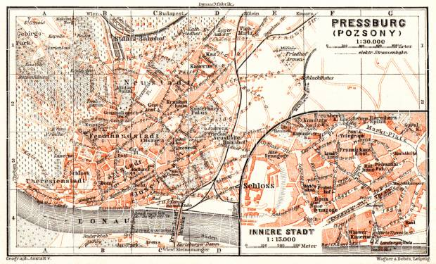 Pressburg (Bratislava) city map, 1913. Use the zooming tool to explore in higher level of detail. Obtain as a quality print or high resolution image