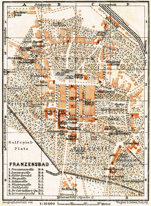 Franzensbad (Františkovy Lázně) town plan, 1911. Use the zooming tool to explore in higher level of detail. Obtain as a quality print or high resolution image