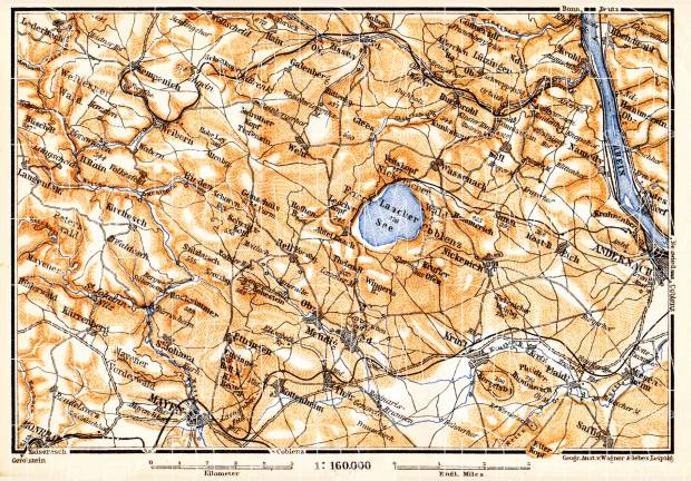 Laacher See and environs map, 1905. Use the zooming tool to explore in higher level of detail. Obtain as a quality print or high resolution image