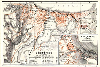 Jönköping city map, 1911. With Husqvarna plan inset