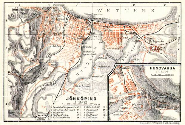 Jönköping city map, 1911. With Husqvarna plan inset. Use the zooming tool to explore in higher level of detail. Obtain as a quality print or high resolution image