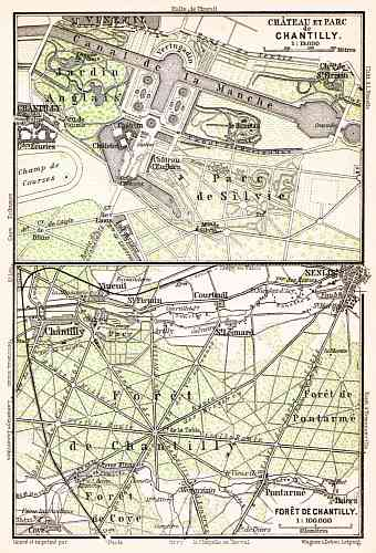 Chantilly, Château de Chantilly map, 1931