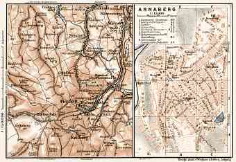 Annaberg town plan with it´s south environs map, 1911
