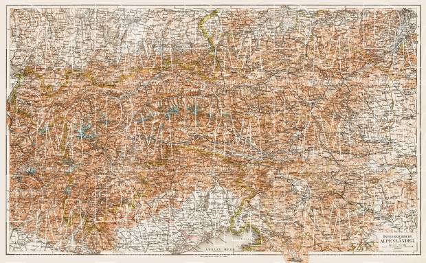 Map of the Austrian Alps from Bludenz and Feldkirch to Vienna, 1903. Use the zooming tool to explore in higher level of detail. Obtain as a quality print or high resolution image