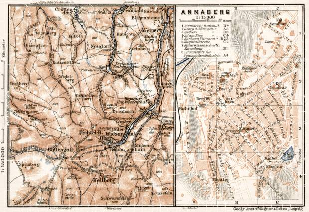 Annaberg town plan with it´s south environs map, 1911. Use the zooming tool to explore in higher level of detail. Obtain as a quality print or high resolution image