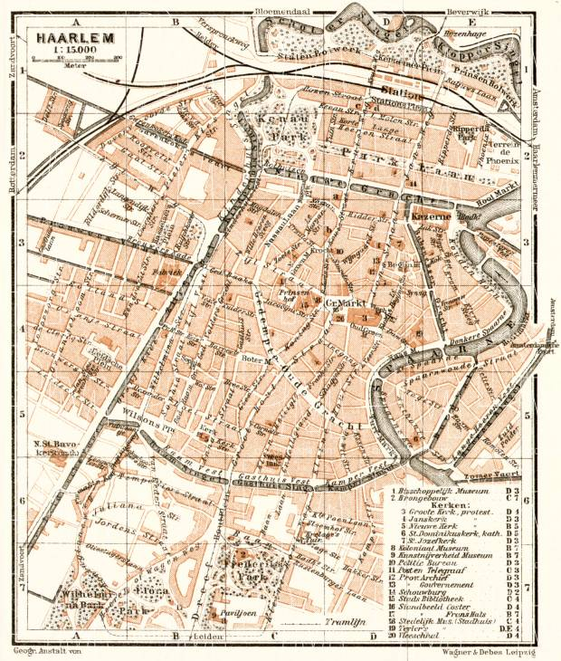 Haarlem city map, 1909. Use the zooming tool to explore in higher level of detail. Obtain as a quality print or high resolution image