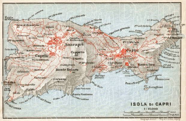 Capri Isle map, 1912. Use the zooming tool to explore in higher level of detail. Obtain as a quality print or high resolution image