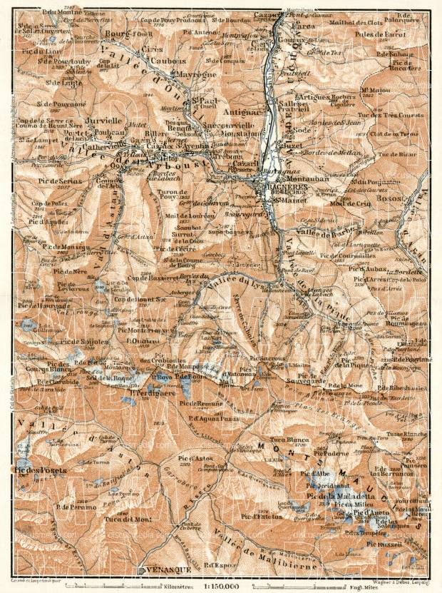 Mont Maudit and town of Bagnères-de-Luchon environs map, 1902. Use the zooming tool to explore in higher level of detail. Obtain as a quality print or high resolution image
