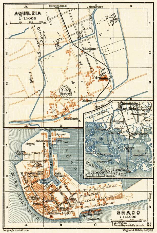 Aquileja and Grado town plans, 1911. Use the zooming tool to explore in higher level of detail. Obtain as a quality print or high resolution image