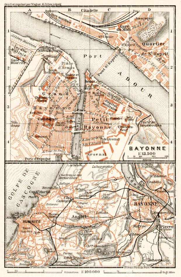 Bayonne, city map. Map of nearer environs of Bayonne, 1902. Use the zooming tool to explore in higher level of detail. Obtain as a quality print or high resolution image