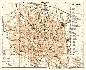 Bologna city map, 1908