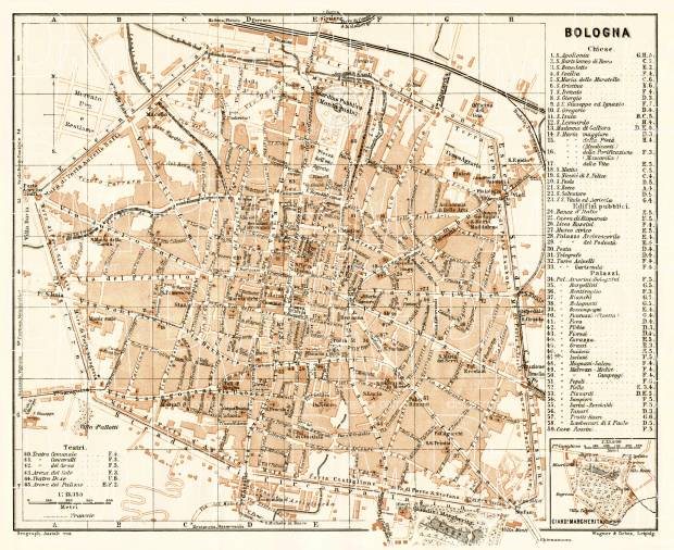 Bologna city map, 1908. Use the zooming tool to explore in higher level of detail. Obtain as a quality print or high resolution image