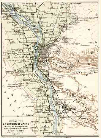 Cairo and environs map, 1911