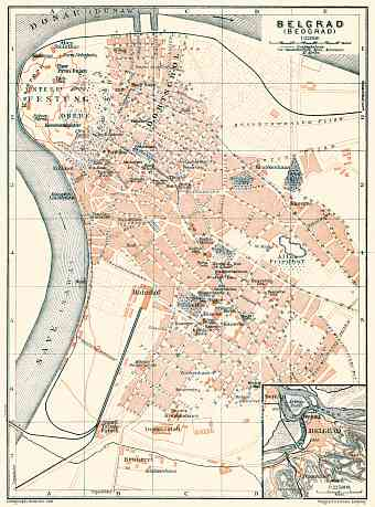 Belgrade (Београд, Beograd) city map. Environs of Belgrade, 1905
