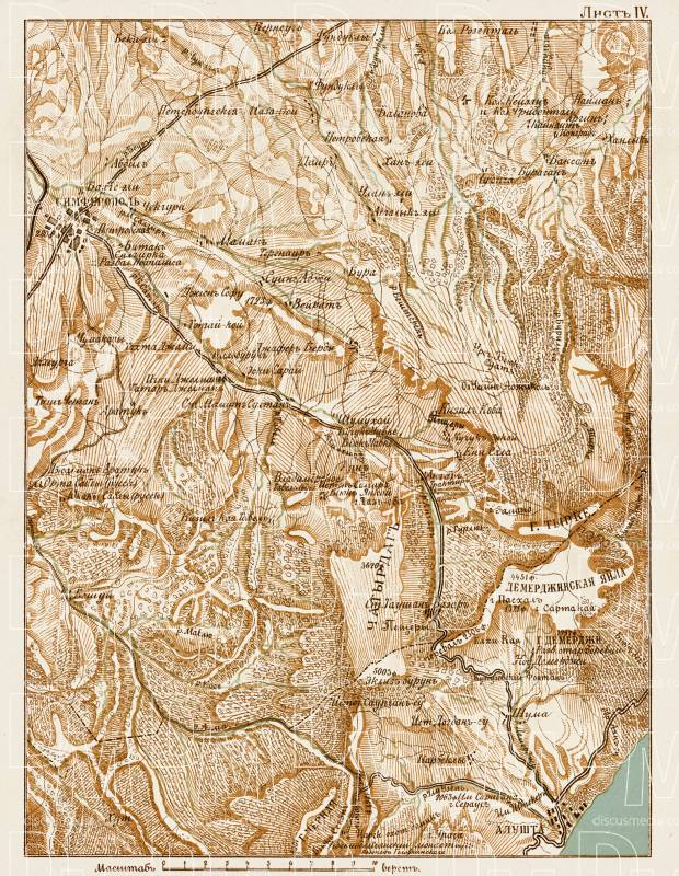 South Crimea: Simferopol - Alushta district map, 1904. Use the zooming tool to explore in higher level of detail. Obtain as a quality print or high resolution image