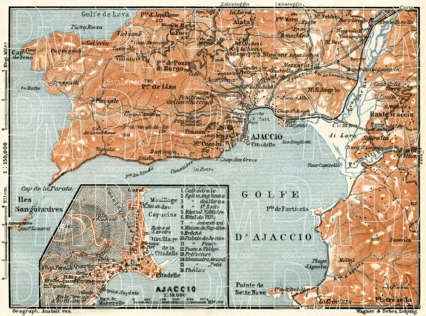 Ajaccio and environs map, 1913. Use the zooming tool to explore in higher level of detail. Obtain as a quality print or high resolution image