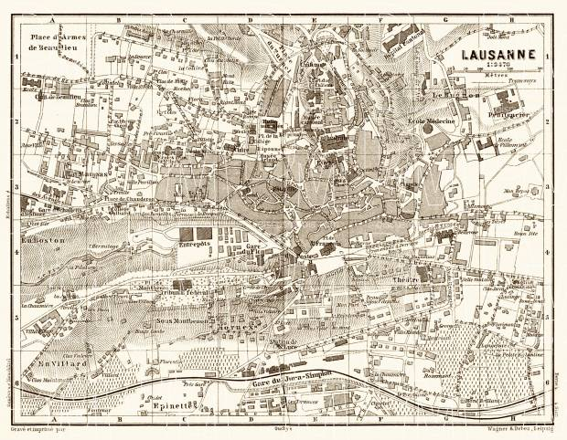 Old map of Lausanne in 1897 Buy vintage map replica poster print or