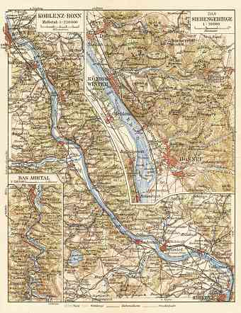 Map of the Course of the Rhine from Koblenz to Bonn, 1927