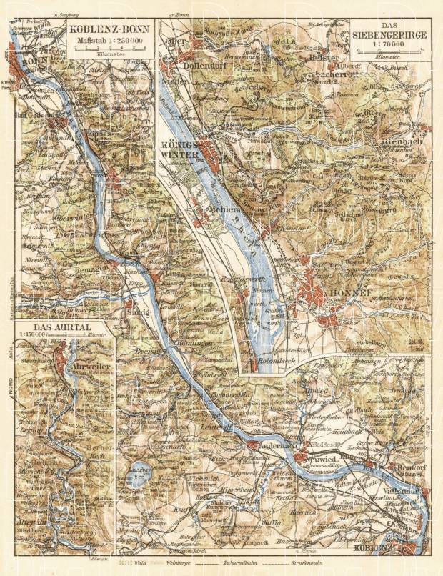Map of the Course of the Rhine from Koblenz to Bonn, 1927. Use the zooming tool to explore in higher level of detail. Obtain as a quality print or high resolution image