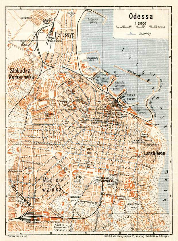 Old map of Odessa in 1928 Buy vintage map replica poster print or