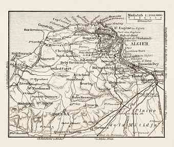 Algiers (الجزائر‎, al-Jazā'er). Map of the farther environs of Algiers, 1913