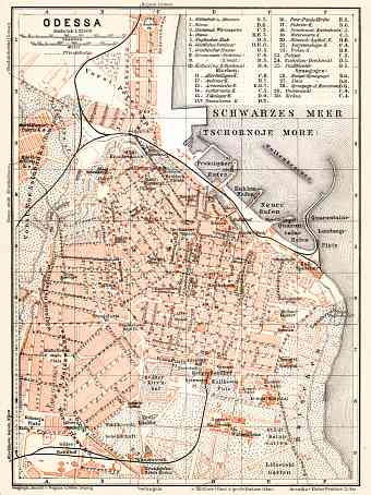 Odessa (Одесса, Odesa) city map, 1905