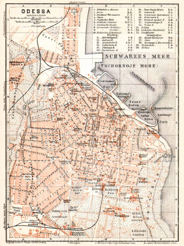 Odessa (Одесса, Odesa) city map, 1905. Use the zooming tool to explore in higher level of detail. Obtain as a quality print or high resolution image