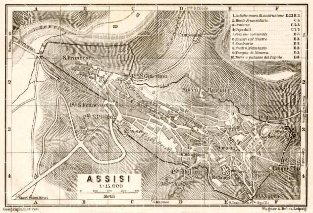 Assisi town plan, 1909. Use the zooming tool to explore in higher level of detail. Obtain as a quality print or high resolution image