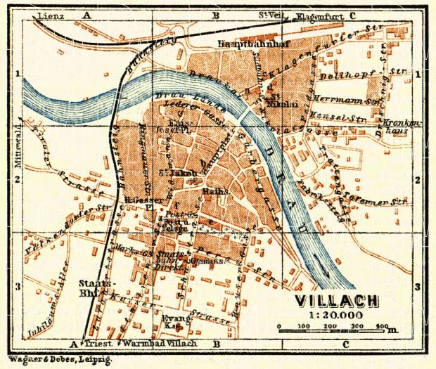Villach city map, 1911. Use the zooming tool to explore in higher level of detail. Obtain as a quality print or high resolution image