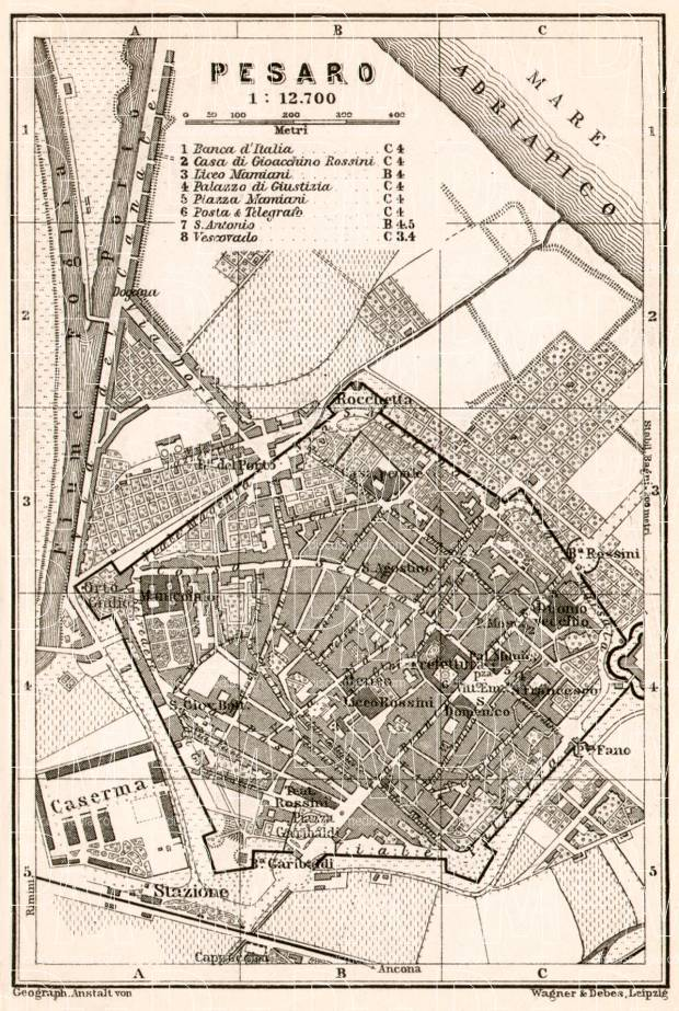 Pesaro city map, 1909. Use the zooming tool to explore in higher level of detail. Obtain as a quality print or high resolution image