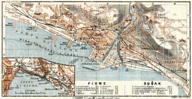 Rijeka and Sušak city map, 1929. Use the zooming tool to explore in higher level of detail. Obtain as a quality print or high resolution image