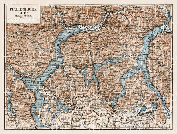 Italian Lakes. Como Lake (Lago di Como), Lugano Lake (Lago di Lugano) and Lake Maggiore with their environs, region map, 1913. Use the zooming tool to explore in higher level of detail. Obtain as a quality print or high resolution image