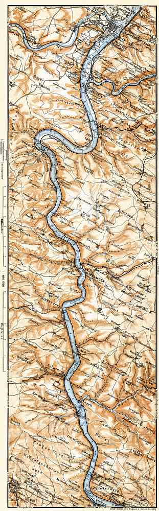 Map of the Course of the Rhine from Coblenz to Bingen, 1905