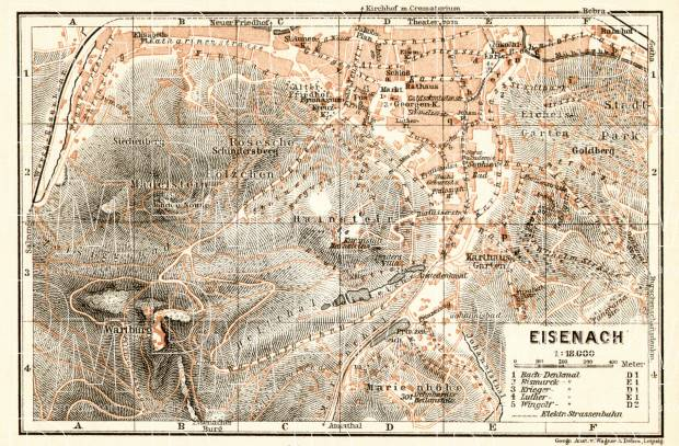 Eisenach city map, 1906. Use the zooming tool to explore in higher level of detail. Obtain as a quality print or high resolution image