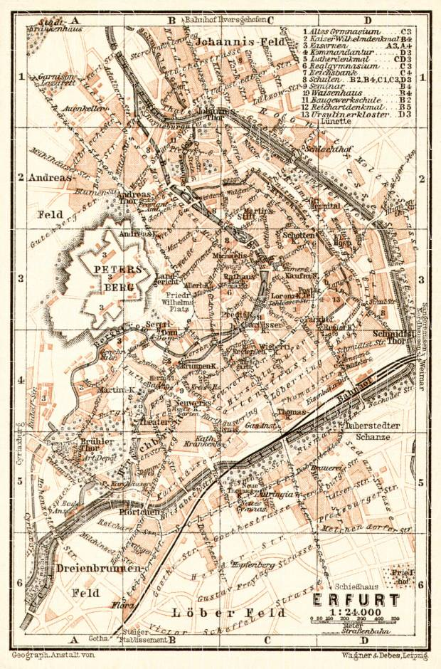Erfurt city map, 1906. Use the zooming tool to explore in higher level of detail. Obtain as a quality print or high resolution image