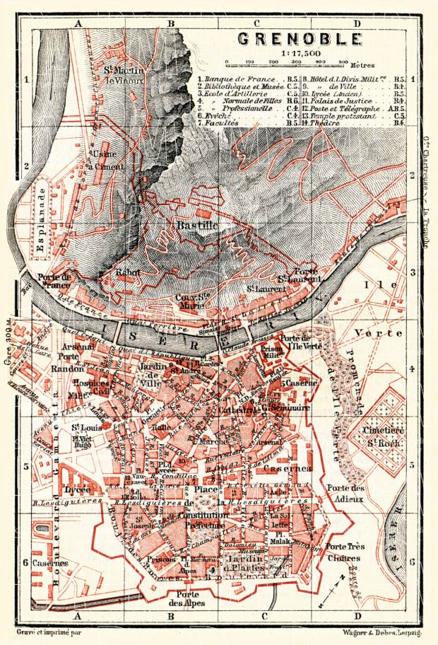 Old map of Grenoble in 1885 Buy vintage map replica poster print or
