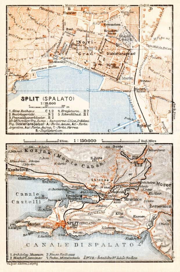 Split (Spalato) town plan. Map of the environs of Split, 1929. Use the zooming tool to explore in higher level of detail. Obtain as a quality print or high resolution image