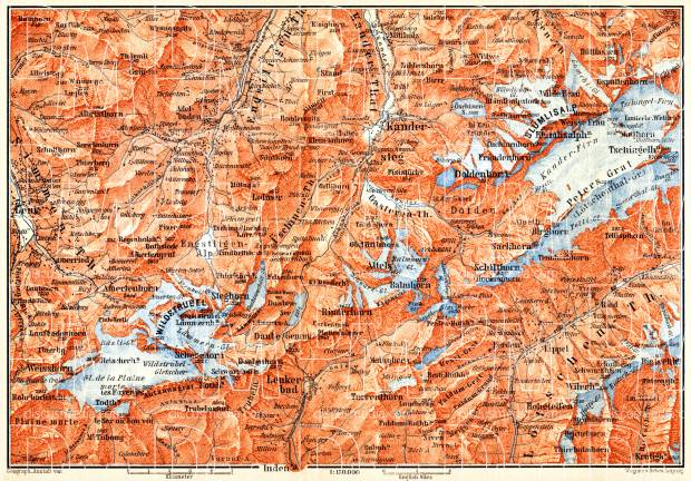 Kandersteg environs map, 1897. Use the zooming tool to explore in higher level of detail. Obtain as a quality print or high resolution image