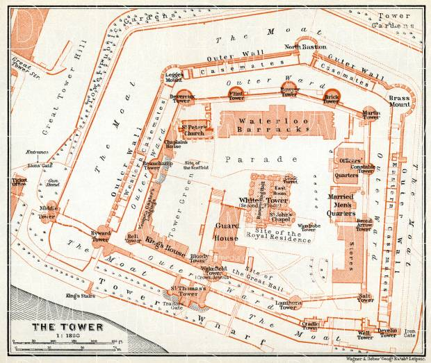 London. The Tower of London plan, 1909. Use the zooming tool to explore in higher level of detail. Obtain as a quality print or high resolution image