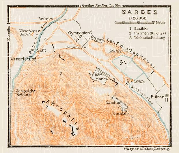 Sardes (Sardis, Σάρδεις), ancient site map, 1914. Use the zooming tool to explore in higher level of detail. Obtain as a quality print or high resolution image