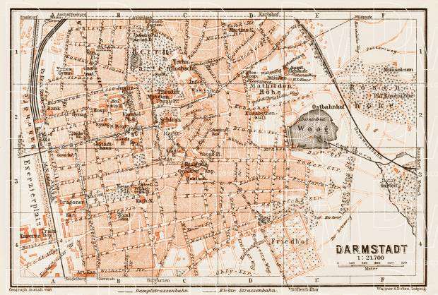 Darmstadt city map, 1909. Use the zooming tool to explore in higher level of detail. Obtain as a quality print or high resolution image