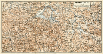 Krkonoše (Riesengebirge) Mountains map, 1887