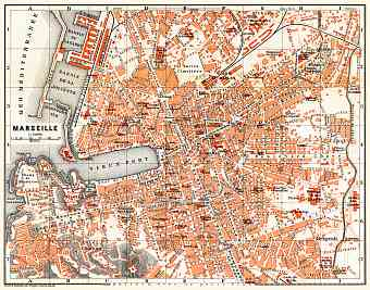 Marseille city map, 1885