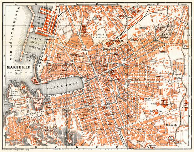 Marseille city map, 1885. Use the zooming tool to explore in higher level of detail. Obtain as a quality print or high resolution image