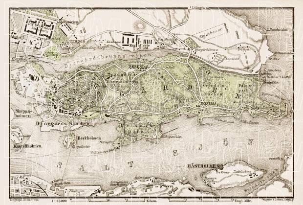 Djurgården (in Stockholm) map, 1929. Use the zooming tool to explore in higher level of detail. Obtain as a quality print or high resolution image