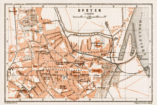 Old Map Of Speyer In 1909 Buy Vintage Map Replica Poster Print Or