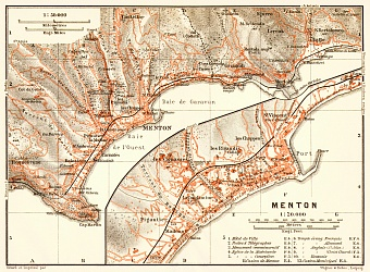 Menton town plan with map of the environs of Menton, 1913